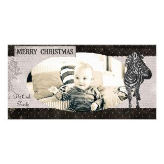 Tarjeta de la foto del navidad de la cebra del ros tarjeta personal