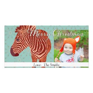 Tarjeta de la foto del navidad de la cebra del vin tarjeta fotografica
