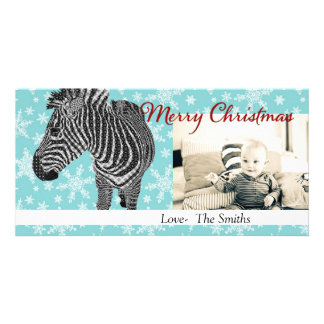 Tarjeta de la foto del navidad de la cebra II del Tarjeta Fotografica Personalizada
