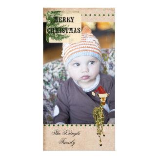 Tarjeta de la foto del navidad de la jirafa del or tarjeta fotográfica