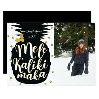Tarjeta de la foto del navidad de la piña de Mele