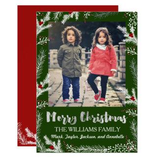 Tarjeta de la foto del navidad de las ramas de la