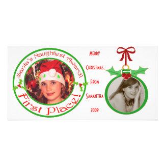 Tarjeta de la foto del navidad de los niños divert tarjeta personal con foto