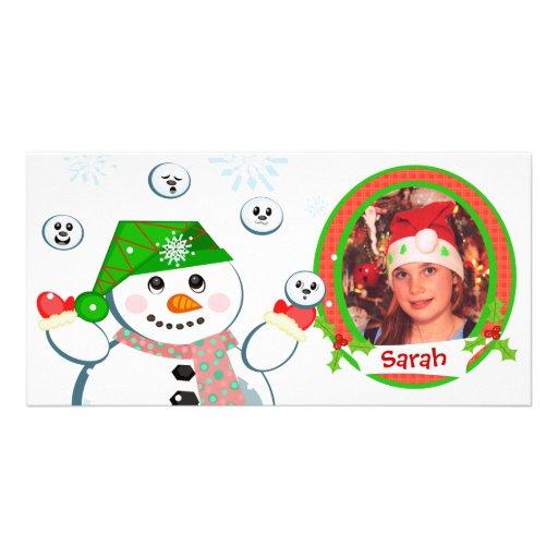 Tarjeta de la foto del navidad de los niños divert plantilla para tarjeta de foto