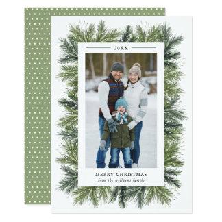 Tarjeta de la foto del navidad de los pinos Nevado