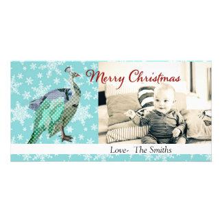 Tarjeta de la foto del navidad del azul de pavo re tarjetas personales