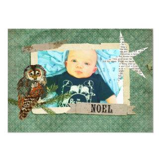 Tarjeta de la foto del navidad del búho del ámbar invitación 12,7 x 17,8 cm
