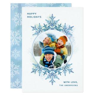 Tarjeta de la foto del navidad del copo de nieve
