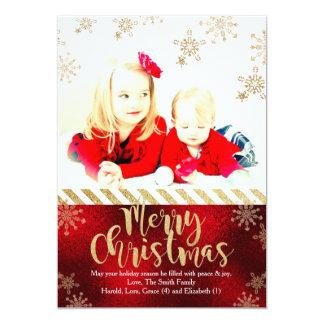 Tarjeta de la foto del navidad del copo de nieve invitación 12,7 x 17,8 cm