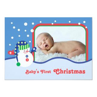 Tarjeta de la foto del navidad del muñeco de nieve invitación 12,7 x 17,8 cm