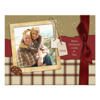 Tarjeta de la foto del navidad del pedazo de la te comunicados