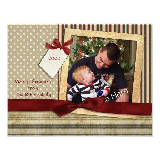 Tarjeta de la foto del navidad del pedazo de los p invitaciones personales