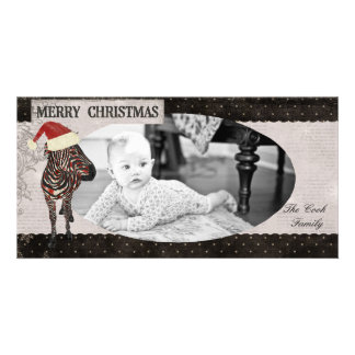Tarjeta de la foto del navidad negro y blanco de l tarjeta fotografica