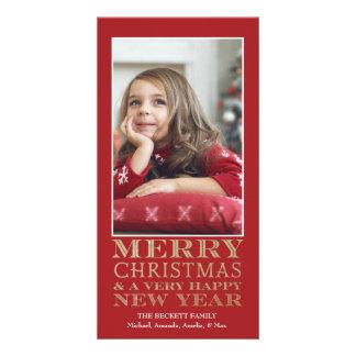 Tarjeta de la foto del navidad - oro de las