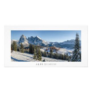 Tarjeta de la foto del paisaje del invierno de