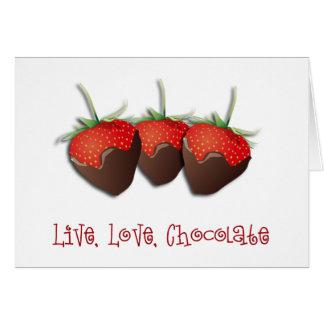 Tarjeta de la fresa del chocolate del amor