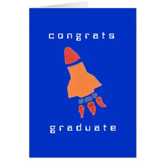 Tarjeta de la graduación del cohete del Kat del