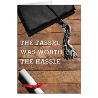 Tarjeta de la graduación del molestia de Tassle