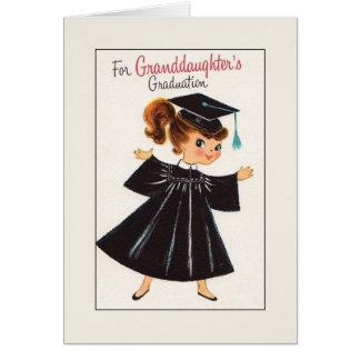 Tarjeta de la graduación del vintage para la nieta