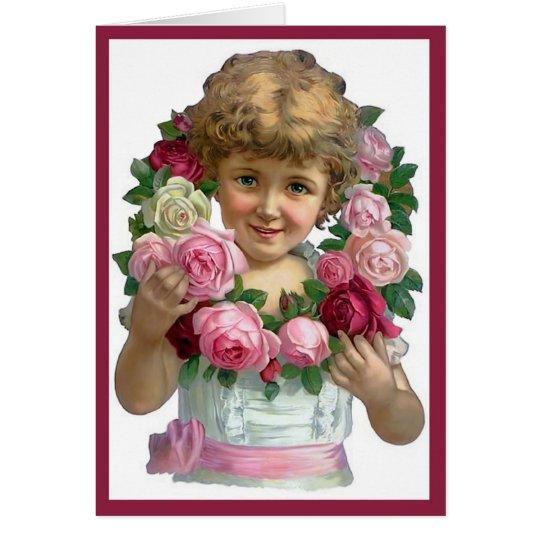 Tarjeta de la guirnalda del rosa del Victorian