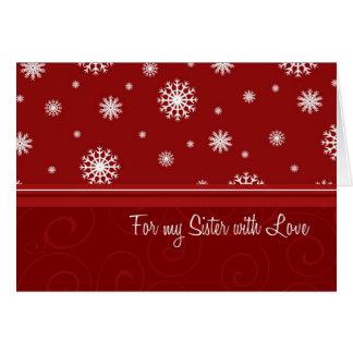 Tarjeta de la hermana de las Felices Navidad de lo