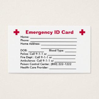 Tarjeta de la identificación de la emergencia