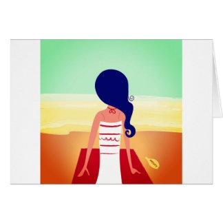 Tarjeta de la impresión del chica de la meditación