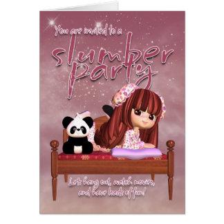 Tarjeta de la invitación de la fiesta de pijamas