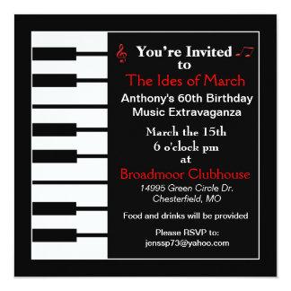 Tarjeta de la invitación de la nota del piano