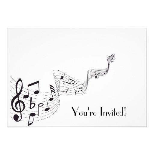 Tarjetas de invitación con notas musicales - Imagui