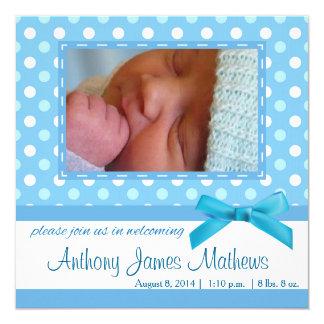 Tarjeta de la invitación de Polkadot del bebé Invitación 13,3 Cm X 13,3cm