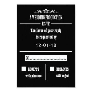 Tarjeta de la invitación de RSVP del boda Invitación 8,9 X 12,7 Cm