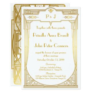 Tarjeta de la invitación del boda, gran Gatsby,