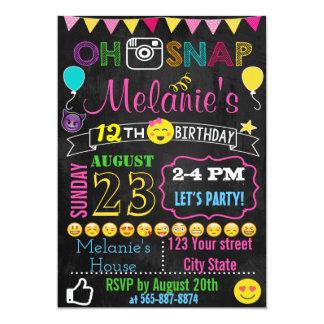 Tarjeta de la invitación del cumpleaños de Emoji