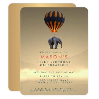 Tarjeta de la invitación del elefante y del fiesta
