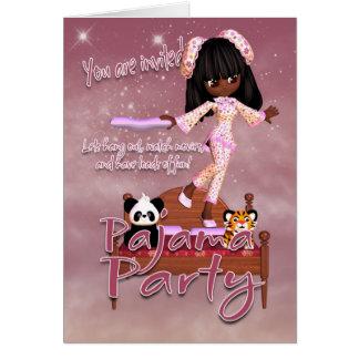 Tarjeta de la invitación del fiesta de pijama