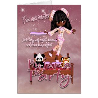 Tarjeta de la invitación del fiesta del pijama