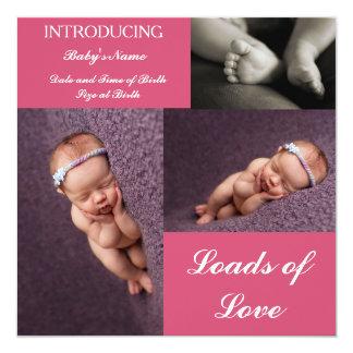 tarjeta de la invitación del nacimiento 3 in-1