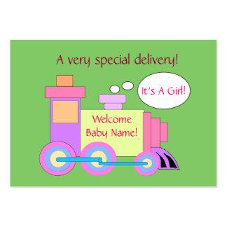 Tarjeta de la invitación del nacimiento del tren tarjetas de visita