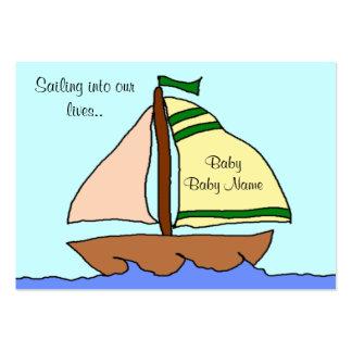 Tarjeta de la invitación del nacimiento del velero tarjeta de visita