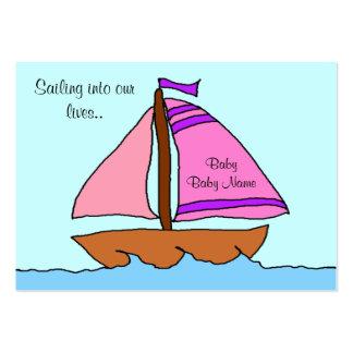 Tarjeta de la invitación del nacimiento del velero tarjetas de visita grandes
