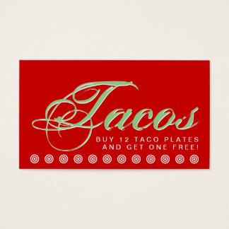 tarjeta de la lealtad del cliente del TACOS de la