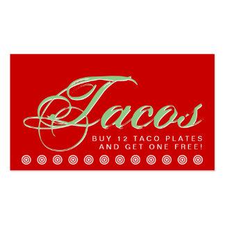 tarjeta de la lealtad del cliente del TACOS de la Tarjetas De Visita