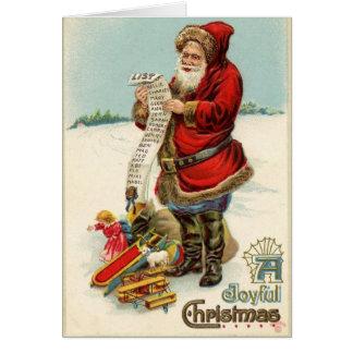 Tarjeta de la lista del navidad de Santa del