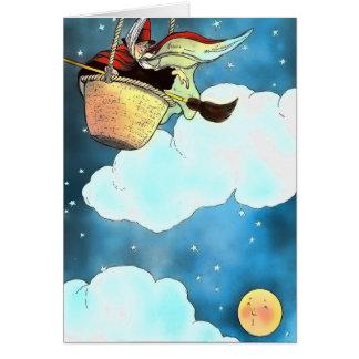 Tarjeta de la luna y de la bruja de los niños