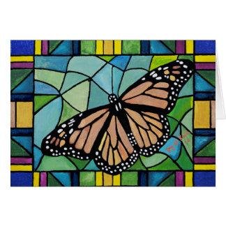 Tarjeta de la mariposa del vitral