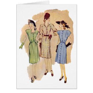 Tarjeta de la moda de los años 40 del vintage