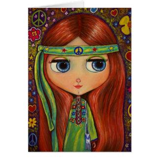 Tarjeta de la muñeca del Hippie de la paz