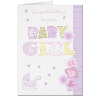 Tarjeta de la niña de la enhorabuena, nuevo bebé