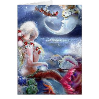 Tarjeta de la Nochebuena de una sirena
